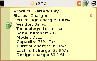 GPM - Information status about the battery