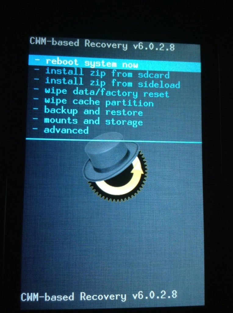 ClockWorkMod Recovery menu