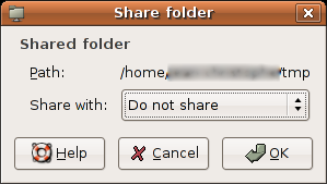 Initial Share Folder Window
