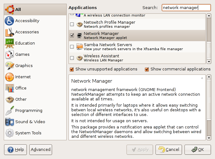 Installing Network Manager