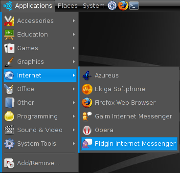 Pidgin entry in the Ubuntu menu