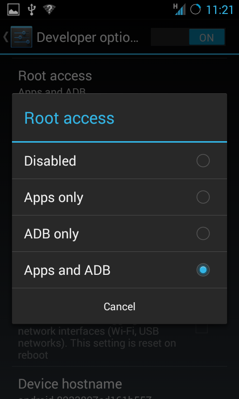 Authorise to gain root access via adb