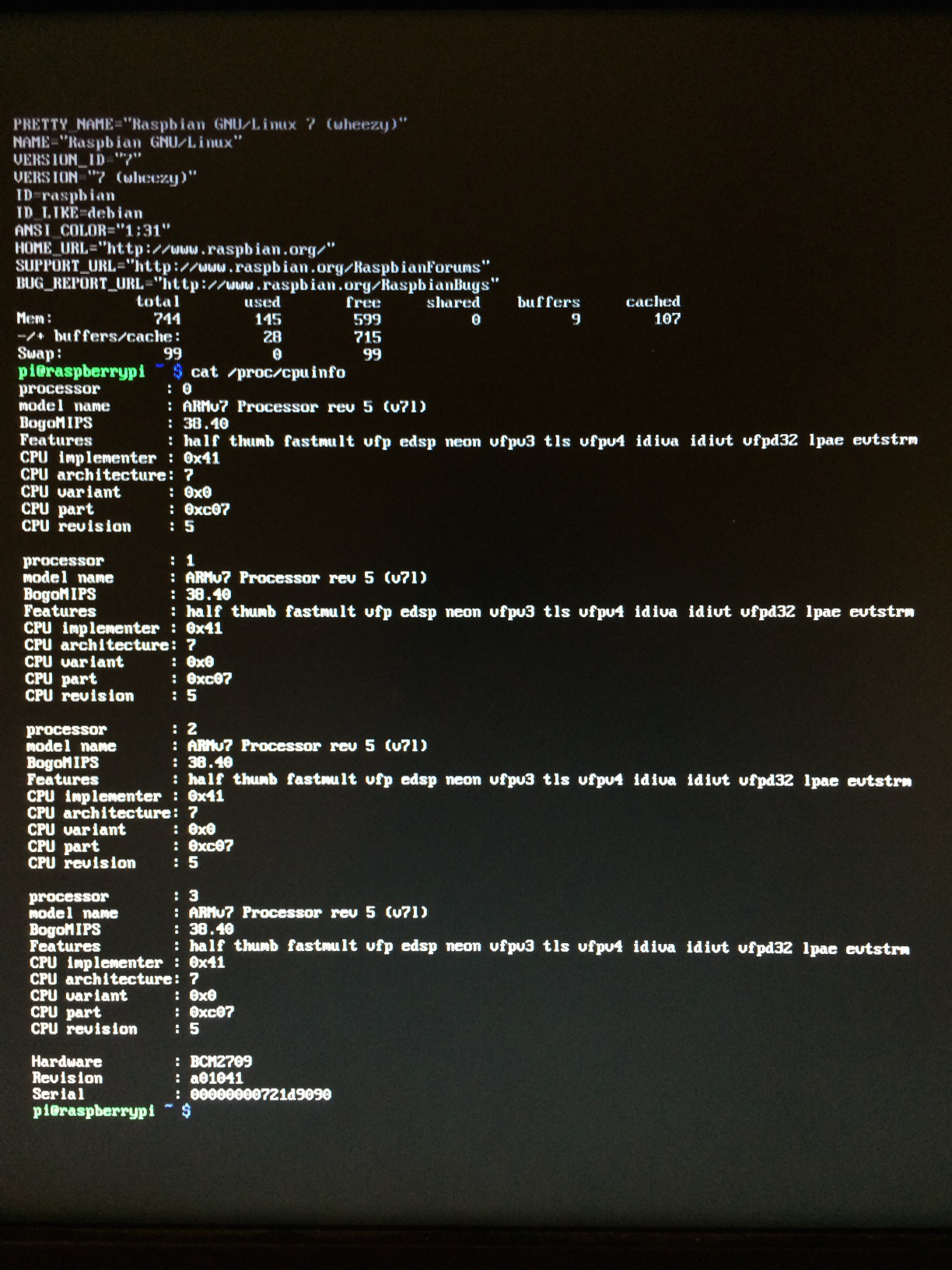 System information (uname, free and /proc/cpuinfo output)