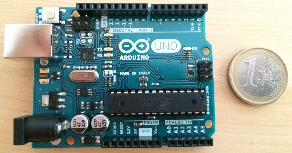 A photo of a Arduino Uno R3