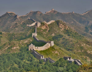 Great Wall winding over the mountains
